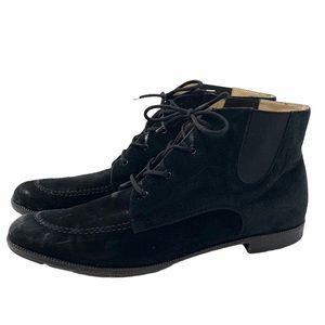 Salvatore Ferragamo Black Suede Lace Up Boots